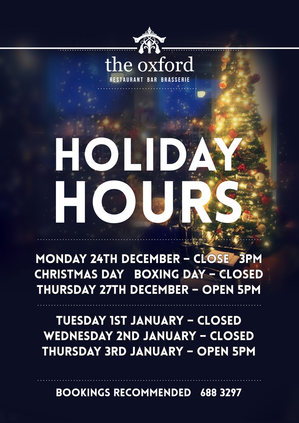 Oxford Holiday Hours 2018