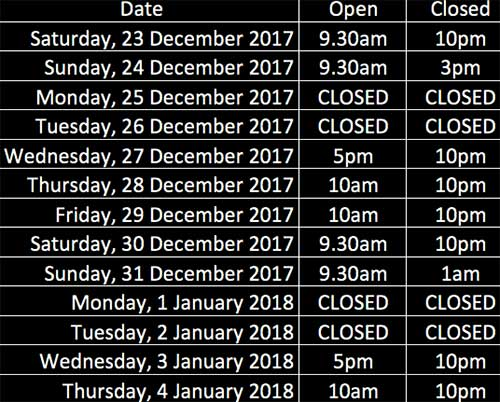 The Oxford Christmas and New Year Hours