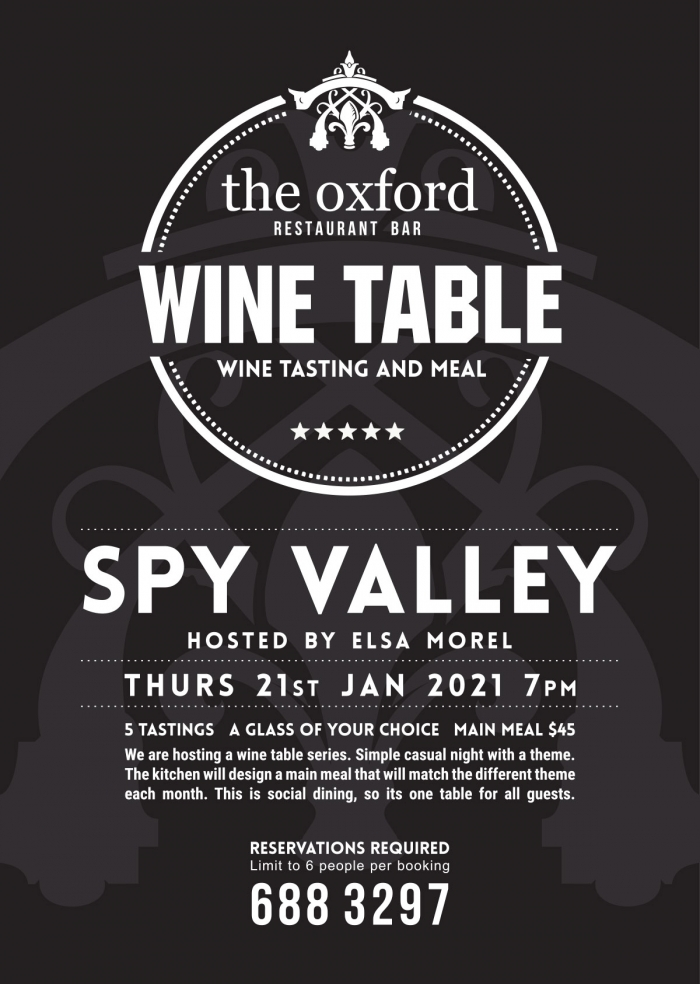 Wine Table: Spy Valley