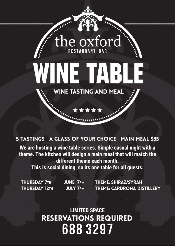 The Oxford - wine table night